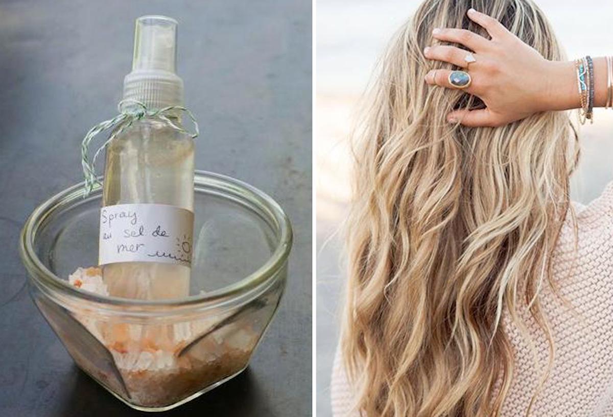 Truc facile pour faire votre vaporisateur pour cheveux au sel de mer