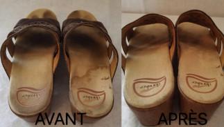 Truc facile pour nettoyer des sandales avec une semelle en suède!