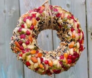 Une couronne de Noël pour nourrir les oiseaux qui est très facile à faire!