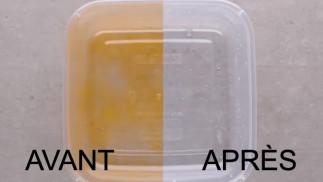 Nettoyez facilement un plat de plastique taché de sauce tomate